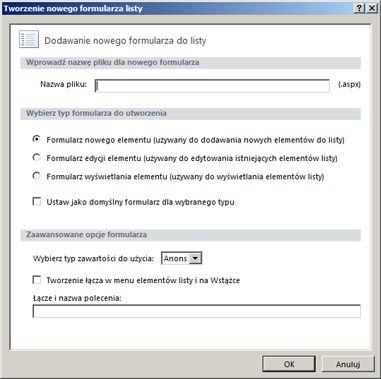 Formularze w programie SharePoint Designer