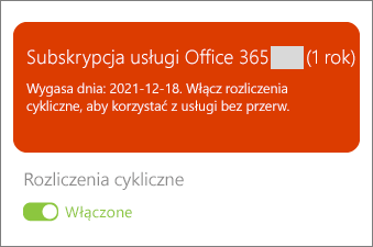 Przejrzyj szczegóły subskrypcji usługi Office 365