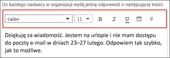 Wiadomość odpowiedzi automatycznych aplikacji Outlook w sieci Web