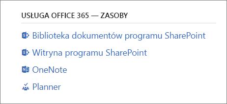 Usługa Office 365 — zasoby