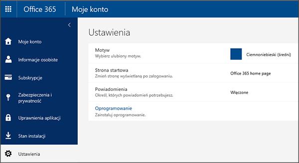 Strona ustawień usługi Office 365