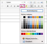 Selektor kolorów czcionki w programie Outlook dla komputerów Mac