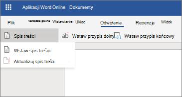 Dokument programu Word z wyświetlane opcje spisu treści