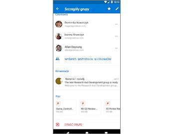 Strona Szczegóły grupy zapewniająca łatwy dostęp do plików