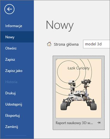 Szablon modelu 3D w menu Plik > Nowy