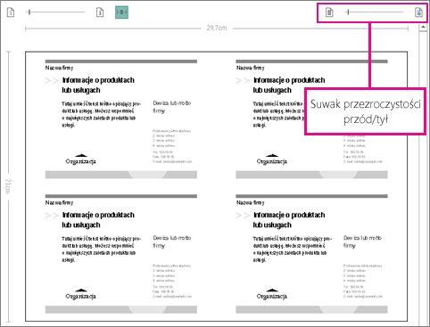 Suwak podglądu wydruku podczas wyświetlania przedniej i tylnej strony publikacji w celu sprawdzenia, czy są poprawnie wyrównane.