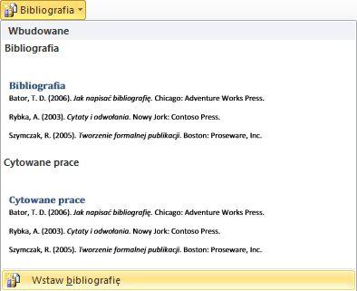Kliknij przycisk Wstaw bibliografię