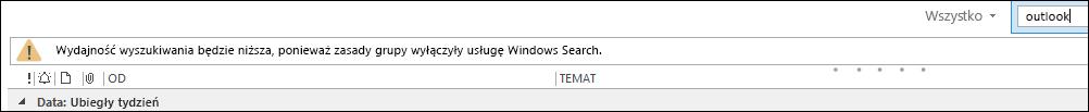 Wyszukiwanie z pulpitu systemu Windows jest wyłączone