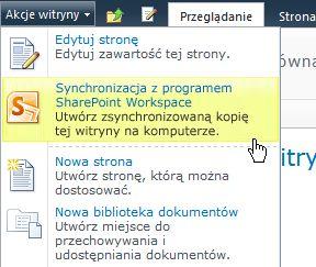 Polecenie Synchronizuj z programem SharePoint Workspace