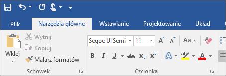 Kolorowa wstążka w programie Word 2016