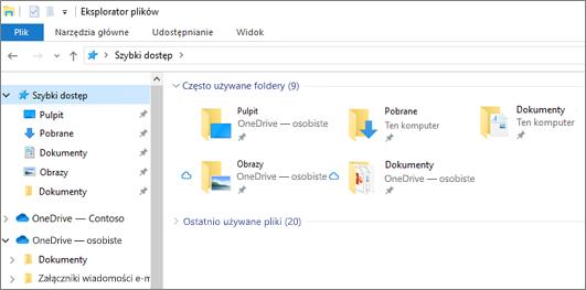 Eksplorator plików w systemie Windows 10 z folderami pulpit, dokumenty i obrazy w usłudze OneDrive