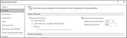 Zrzut ekranu przedstawiający ustawienia obliczeń iteracyjnych