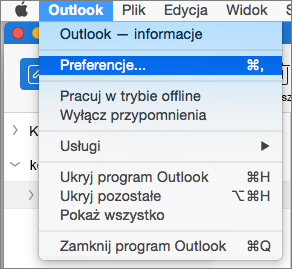 Menu w programie Outlook z wyróżnioną pozycją Preferencje.