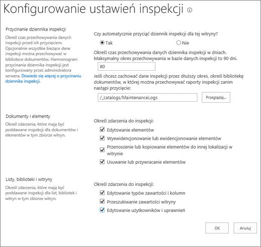 Ekran Ustawienia inspekcji zbioru witryn