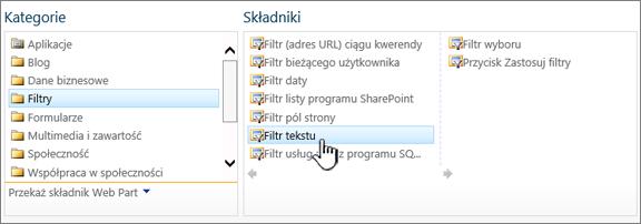 Wybieranie składnika web part filtr tekstu