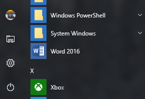 Przykład przedstawiający skrót programu Word 2016: brak w skrótach pakietu Office