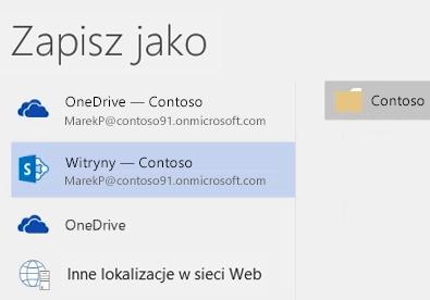 Zapisywanie dokumentu usługi OneDrive dla Firm w bibliotece witryny zespołu