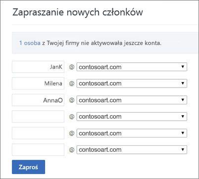 Gdy zapraszasz użytkowników do swojej grupy usługi Yammer, jest wyświetlana domena podstawowa