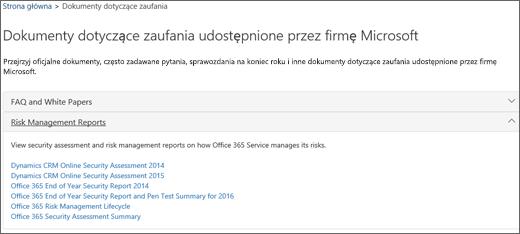 Wyświetla stronę Zapewnianie ochrony usługi: Zaufane dokumenty udostępniane przez firmę Microsoft