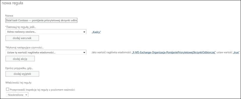 Zrzut ekranu: Tworzenie i zapisywanie nowej reguły priorytetowej skrzynki odbiorczej