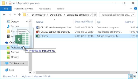 Przeciąganie plików do usługi OneDrive