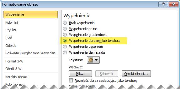 Okno dialogowe Formatowanie obrazu