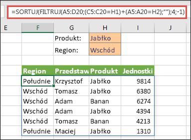 Funkcje FILTRUJ i SORTUJ zastosowane razem — filtrowanie według Produktu (Jabłko) LUB Regionu (Wschód)