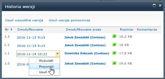 Lista rozwijana wersji z wyróżnioną pozycją Przywróć.