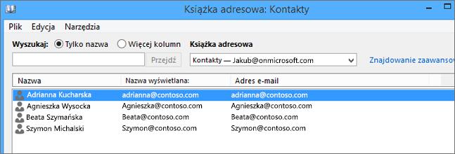 Kontakty zaimportowane z usługi Google Gmail do usługi Office 365 są widoczne w książce adresowej: Kontakty
