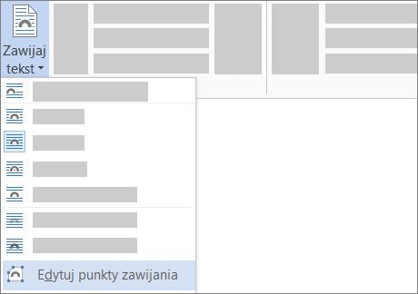 Opcja Edytuj punkty zawijania dla pozycji Zawijaj tekst na wstążce