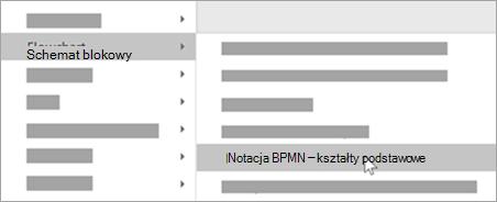 Dodaj kształty podstawowych notacji BPMN do kształtów.