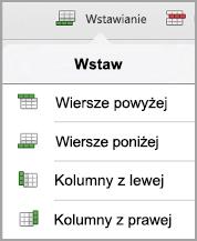 menu Wstawianie tabeli iPad