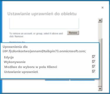 Zrzut ekranu przedstawiający okno dialogowe Ustawianie uprawnień do obiektu w usłudze SharePoint Online. Użyj tego okna dialogowego do ustawienia uprawnień dla określonego typu zawartości zewnętrznej.