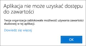 Okno dialogowe z informacją, że aplikacja nie może uzyskać dostępu do zawartości podczas wklejania w aplikacji niezarządzanej.