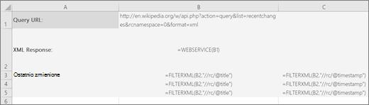 Przykład funkcji FILTERXML