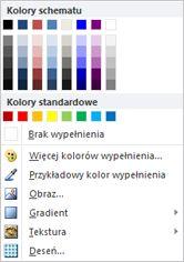 Opcje wypełnienia kształtu obiektu WordArt w programie Publisher 2010
