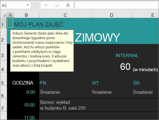 Nowe: szablon programu Excel Menedżer zajęć na uczelni z opisami elementów.