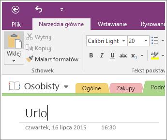 Zrzut ekranu przedstawiający Dodawanie tytułu strony do strony w programie OneNote 2016
