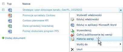 Lista rozwijana dotycząca pliku programu SharePoint. Pozycja Historia wersji jest zaznaczona.