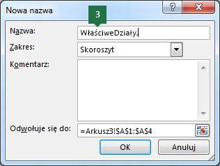 Wpisywanie nazwy pozycji listy rozwijanej w programie Excel