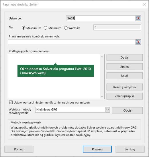 Obraz przedstawiający okno dialogowe dodatku Solver dla programu Excel w wersjach nowszych niż 2010