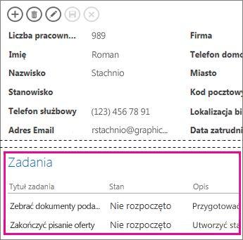 Widok w aplikacji programu Access z zadaniami wyświetlanymi w kontrolce elementów pokrewnych.