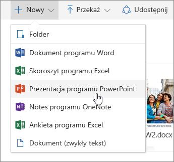 Zrzut ekranu przedstawiający sposób tworzenia pliku lub folderu w usłudze OneDrive