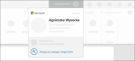 Koncepcyjny zrzut ekranu przedstawiający funkcję przełączania konta