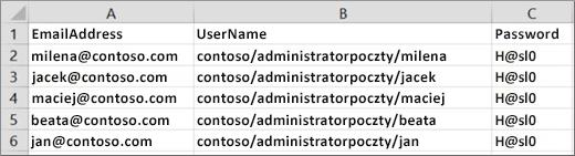 Przykładowy plik migracji dla programu Exchange