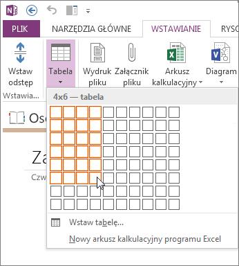 Wstawianie tabeli w programie OneNote