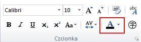 Przycisk koloru tekstu w programie Publisher 2010