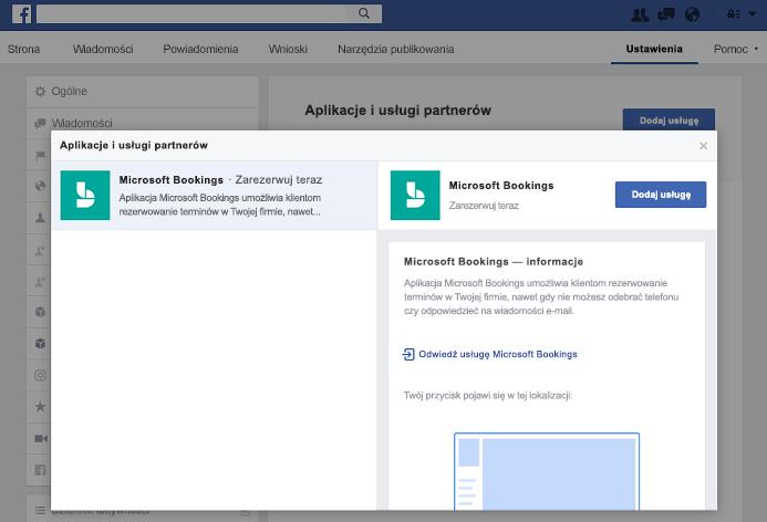 Zrzut ekranu przedstawiający dodawanie usługi do okienka partnera aplikacji i usług.