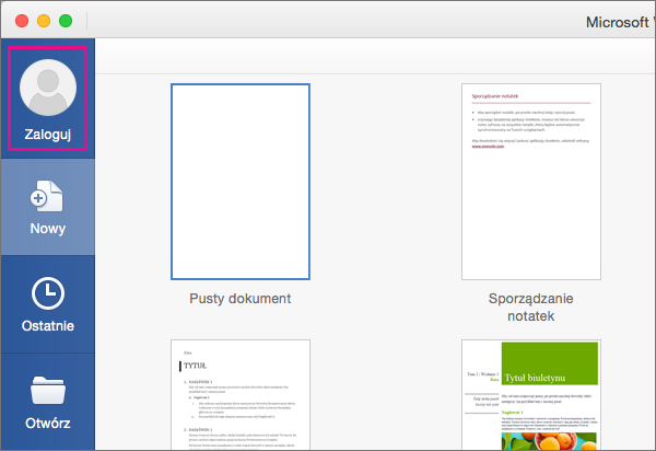 W menu Plik kliknij polecenie Nowy z szablonu, a następnie kliknij pozycję Zaloguj się, aby zalogować się do pakietu Office.