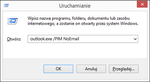 Tworzenie profilu bez wiadomości e-mail za pomocą okna dialogowego Uruchom